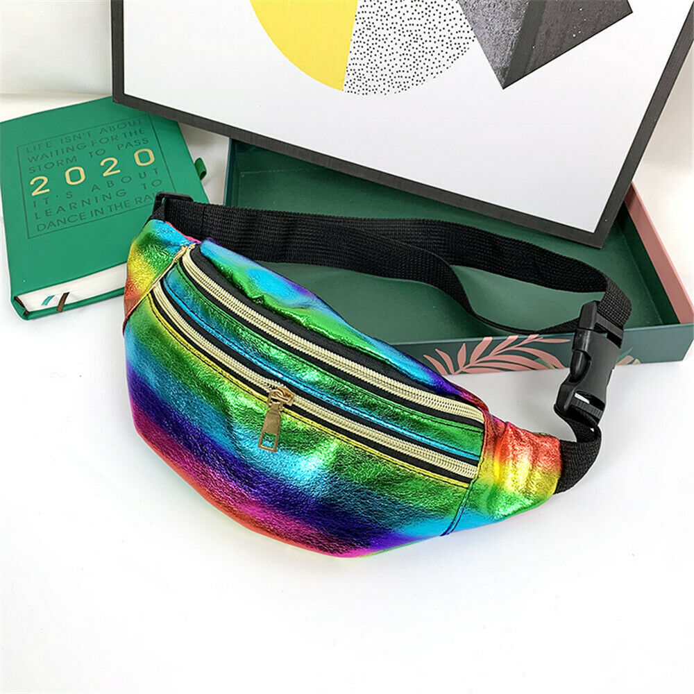 Women Waist Bag Laser Fanny Pack Running Zip Belt Money Pouch Travel Holiday Bag Holographic Pockets Ladies  Chest Bag