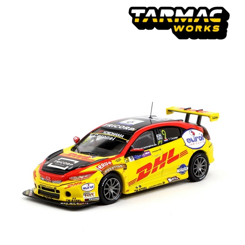 Tarmac Works 1:64 Honda Civic Type R TCR WTCR MACAO 2018 Diecast Model Car