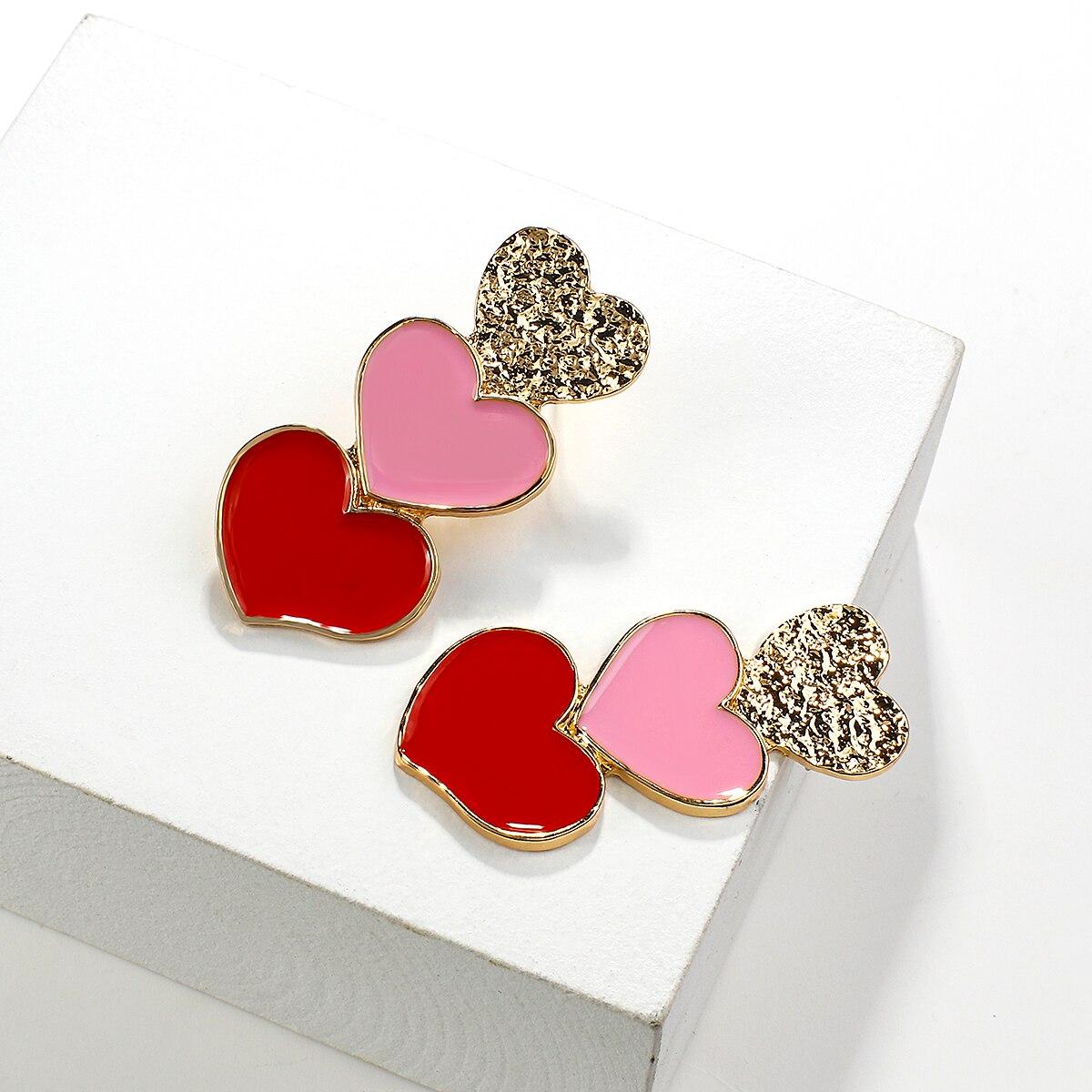AENSOA Long Red Pink Gold Heart Pendant Drop Earrings Korean Style Statement Long Charm Heart Shape Earrings Party Jewelry Gift