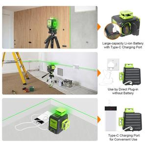 Image 4 - Huepar 3D Cross Line Self leveling Laser Level 12 lines Green Beam Li ion Battery with Type C Charging Port & Hard Carry Case