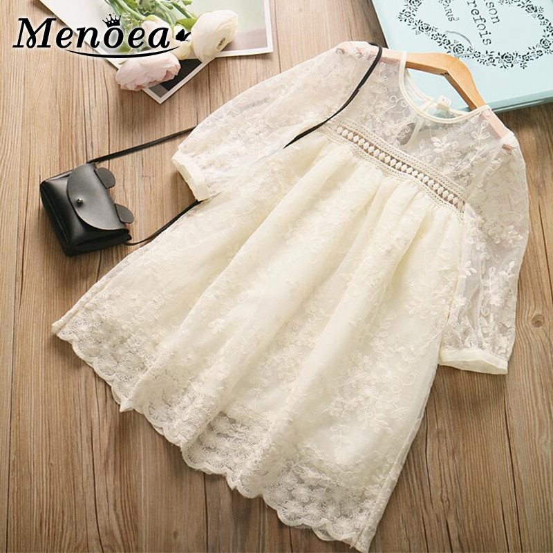 Menoea Girls Summer Dress 2020 New Fashion Style Kids Dress Elegant Lace Costumes Party Dresses Children Half Sleeve Clothes