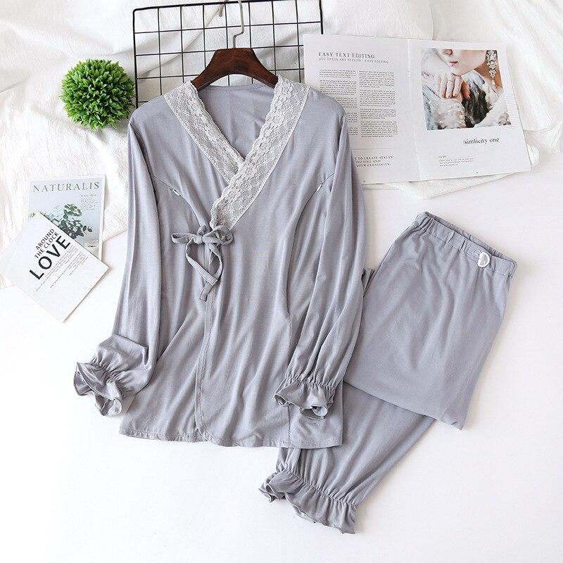 de Enfermagem Amamentação Pijama Camisola Lace Gravidez