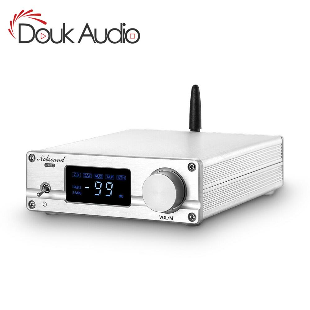 Douk audio Hi-Fi Bluetooth 5.0 Stereo Audio Preamp Attenuated Control Bass Preamplifier 128-Level Relay APTX-LL