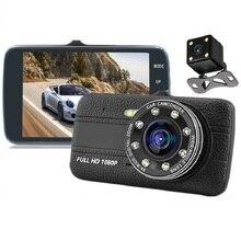 HD 4 .0 بوصة عدسة مزدوجة صورة 1080P المخفية زاوية واسعة مسجل قيادة داش كام سيارة بعدسة مزدوجة كاميرا DVR LED ملء في ضوء