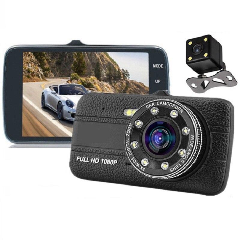 HD 4. 0 zoll Dual Objektiv Bild 1080P Versteckte Weitwinkel Fahren Recorder Dash Cam Dual Objektiv Auto DVR Kamera LED füllen-in Licht