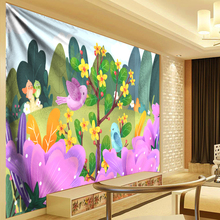 Watercolor Art Tapestry Anime Flower and Bird 3D Psychedelic Wall Hanging Boho Cloth Kids Bedroom Bed Flat Sheets