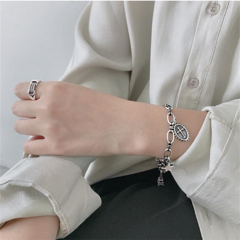 Ying Vahine 100% 925 argent Sterling aile & tour & pendentif étoile à cinq branches charme bracelets pour femme - 6