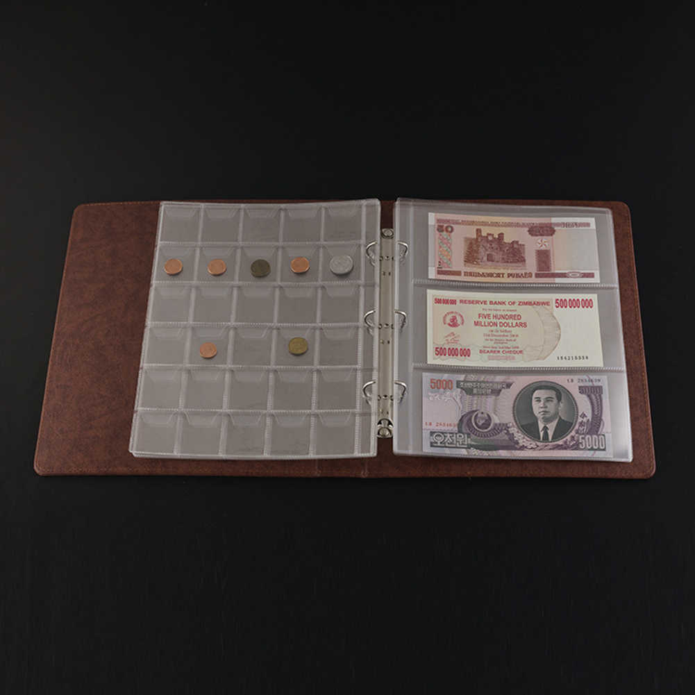 5 adet 3 Cepler Sayfa Kağıt Para Albümü Pullar Banknot Depolama Koruma Yuvası