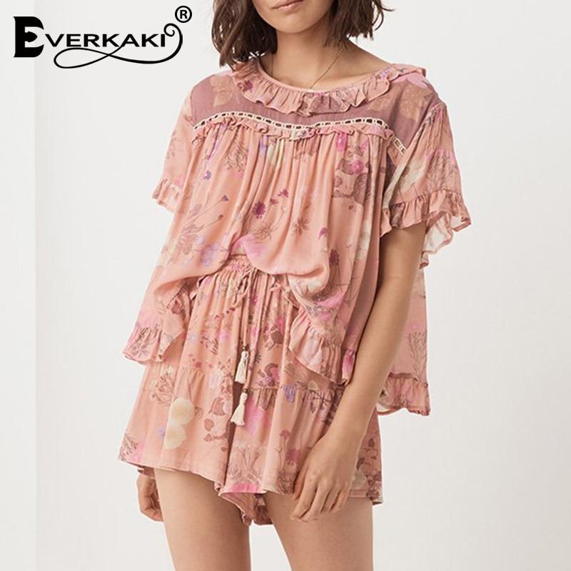 Everkaki Ruffles Hollow Out Patchwork Blouse Tops Women Shirts Print Short Sleeve Boho Top Blouses Female 2019 Summer Autumn New