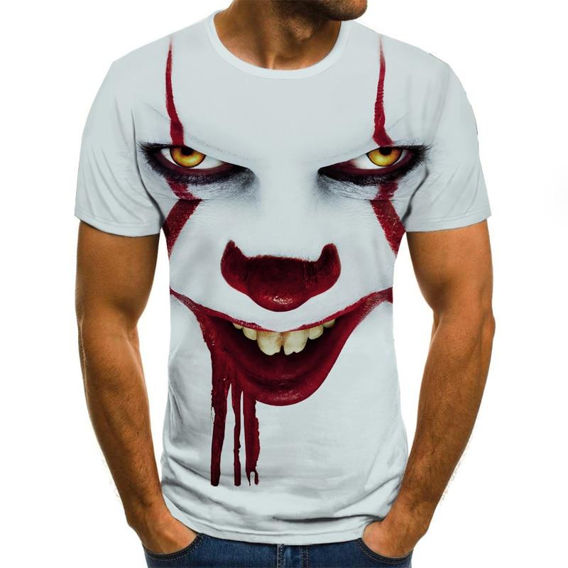 2019 New Men T Shirt Sketch The Clown 3D Printed T Shirt Men Joker Face Casual O-neck Male Tshirt Clown Short Sleeved Joke Tops
