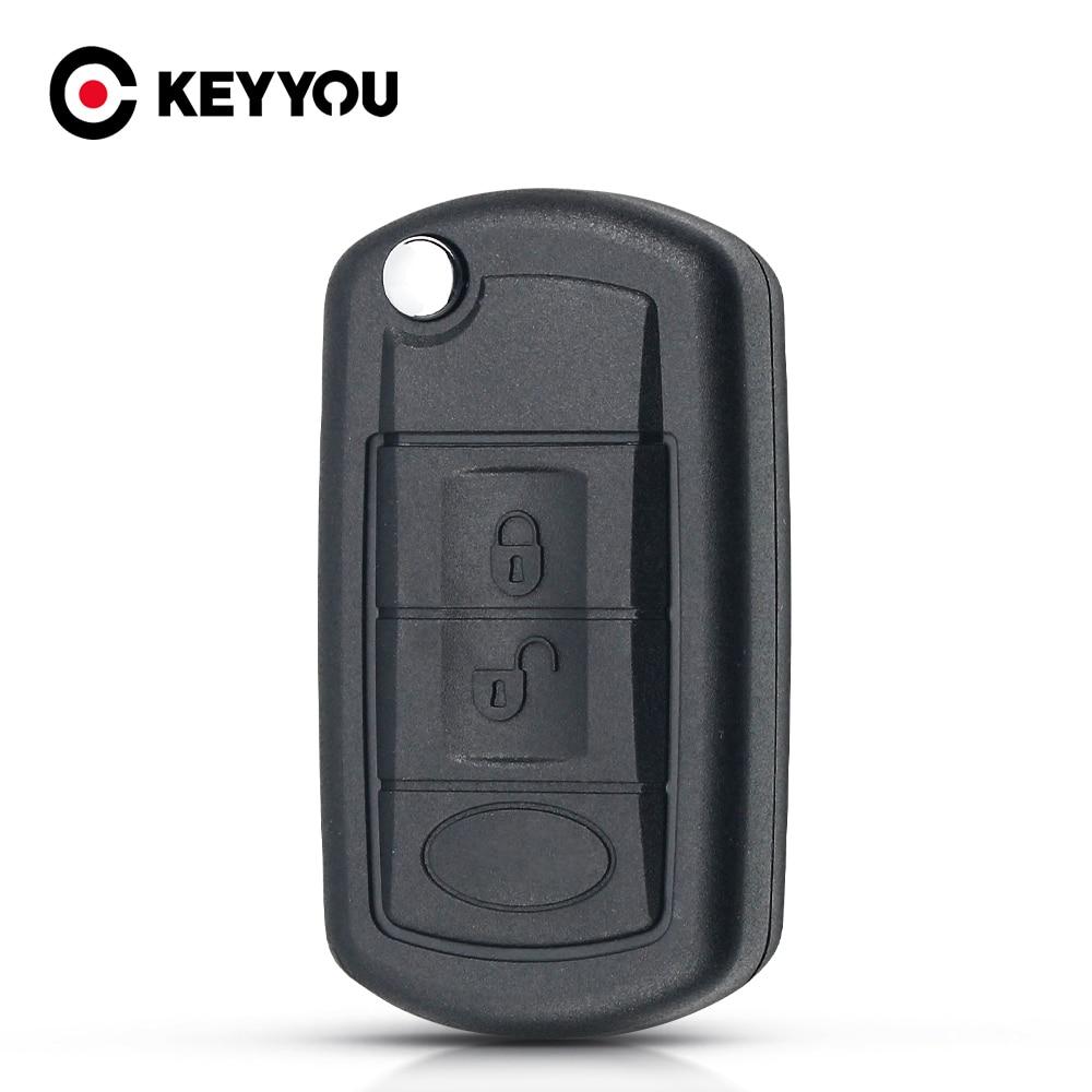 KEYYOU reemplazo carcasa plegable funda de llave de control remoto abatible Fob 3 botón para LAND ROVER Range Rover Sport LR3 descubrimiento