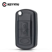 Keyyou substituição escudo dobrável flip remoto chave caso fob 3 botão para land rover range rover esporte lr3 descoberta