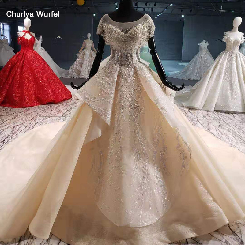 HTL1013 Princess Wedding Dress In Dubai Cap Sleeve Big O Neck Lace Up In Two Side Champagne Wedding Gowns Robe De Mariée Bohème