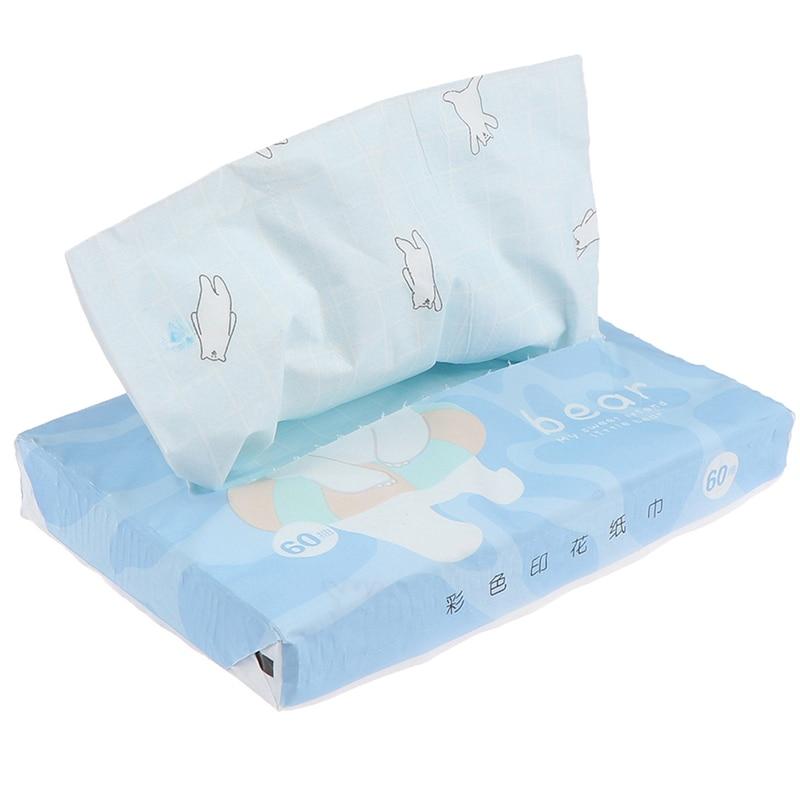 60pcs /bag Printing Creative Household Paper Drawing Soft Cute Baby Original Wood Pulp Printing Tissue