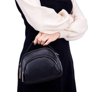 Image 3 - حقيبة ساعي الإناث جلد طبيعي السيدات حقائب كتف العلامة التجارية حقيبة يد نسائية صغيرة Damestas لصور السيدات لينة شكل قذيفة جديدة