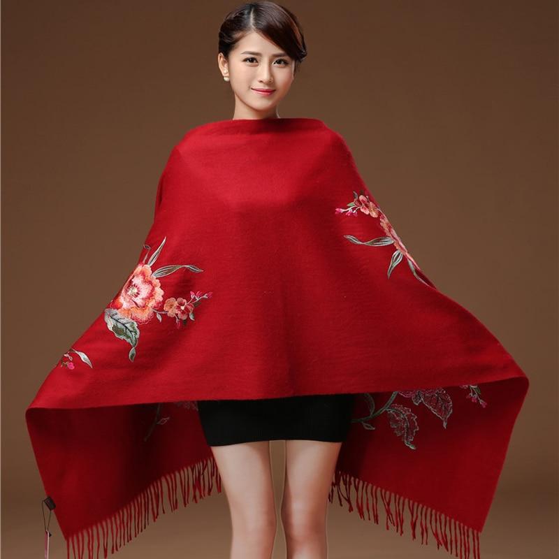 Winter Scarf Hijab Beach шаль Blanket Cashmere Head Scarves Women Elegant Carf Warm red Shawl Long Floral Embroider Bandana 2020