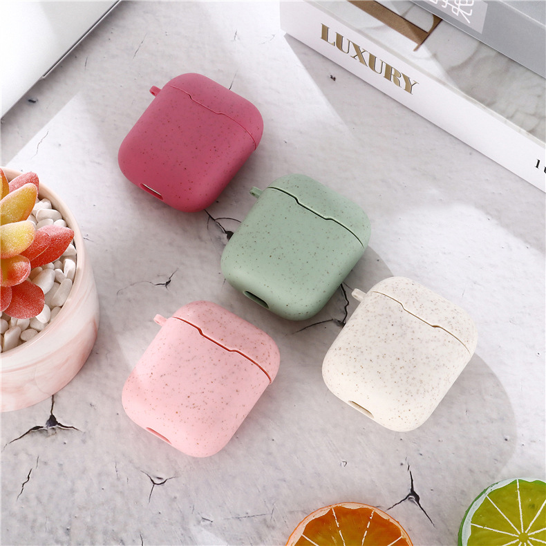 Degradable Wheat Straw Case Cover For Airpods 1 2 Protective Cover Case For Apple Airpods Wireless Bluetooth Headset Cases