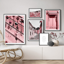 Pink Door Street Prague Building Car Tree Wall Art Canvas Painting Nordic Posters And Prints Pictures For Living Room Decor