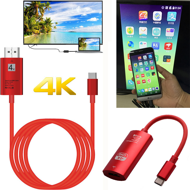 4K USB-C Type C Phone Adapter HDMI Video Connecting Cable For MacBook Lumia 950XL Samsung Note8 Note9 S10 S9 S8 To TV Projector