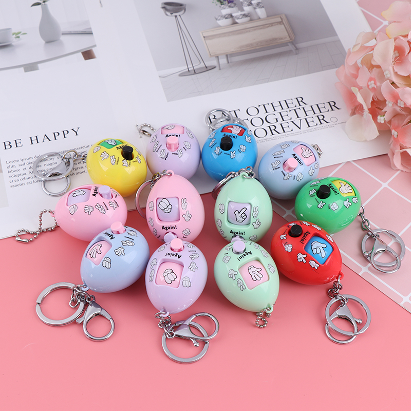 2019 1pc Family Games Keychain Rock Paper Scissors Play Toy Key Chain Key Ring Car Bag Decorate Pendant Charms Color Random