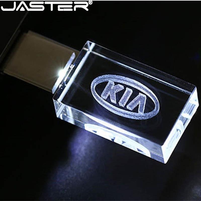 JASTER HOT Car Sign Logos crystal + metal USB flash drive pendrive 4GB 8GB 16GB 32GB 64GB 128GB External Storage memory stick(China)