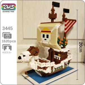 Image 1 - ZMS construcción de un barco de piratas en 3D para niños, One Piece, Luffy, Going, Merry, barco, modelo, DIY, Mini bloques de diamante, juguete de construcción, sin caja, 3445
