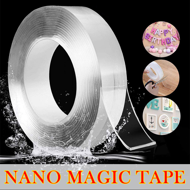 Двусторонняя лента с супервязкостью для лица, 3 м, легко снимается, прозрачная нано-клейкая лента, товары для дома, Magica, гаджеты, захват, Прочн...