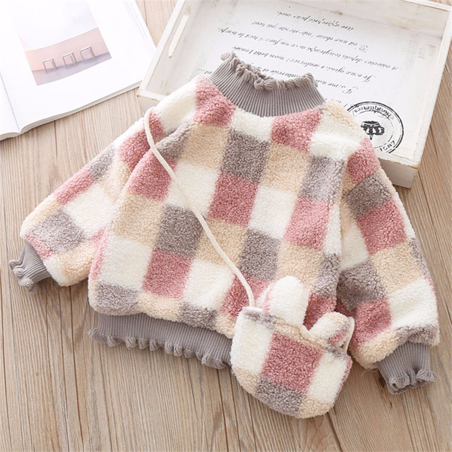 High Quality 1 5Y Girls Sweater for Children Clothes Winter Baby Kids Plaid Sweaters Plus Velvet Princess Pullover send Bag