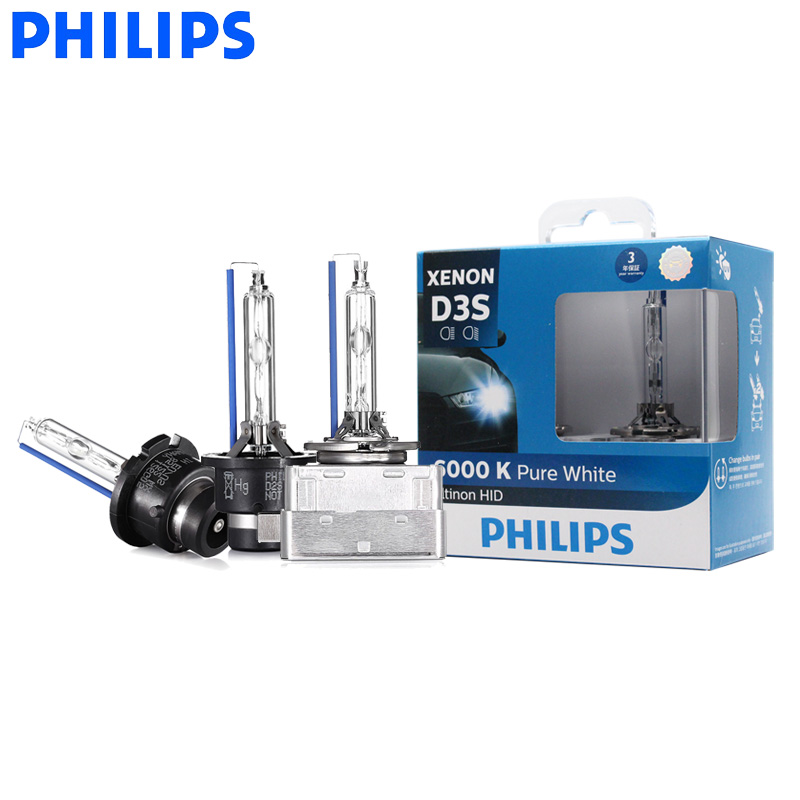 Philips Ultinon HID Xenon D1S D2S D2R D3S D4S WXX2 35W 6000K Cool White Light Xenon Headlight Car Bulbs Auto Lamps (Twin Pack)