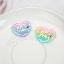 10pcs/lot  31*27mm Kawaii Gradient Flatback Resin Heart Cabochons Scrapbook DIY Embellishments Accessories