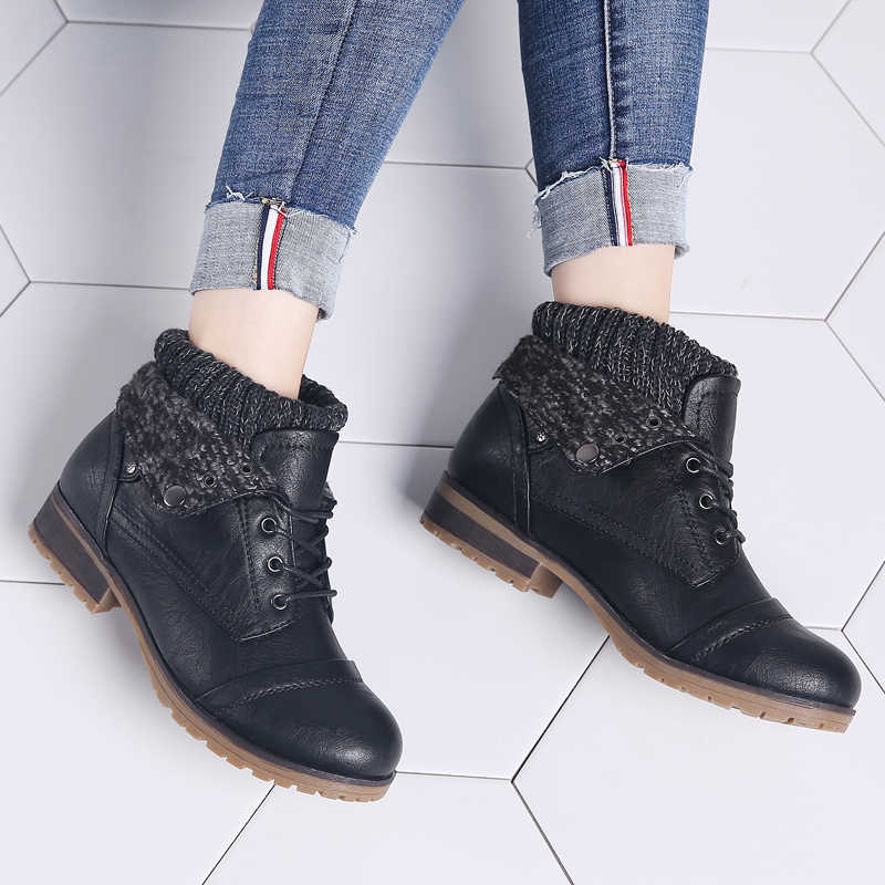 STQ 2019 ใหม่ฤดูหนาวรองเท้าบู๊ทส์รองเท้าหนังแท้รองเท้าหนัง Lace Up Platform รองเท้าผู้หญิง Warm Plush Snow Boots ผู้หญิง 1802