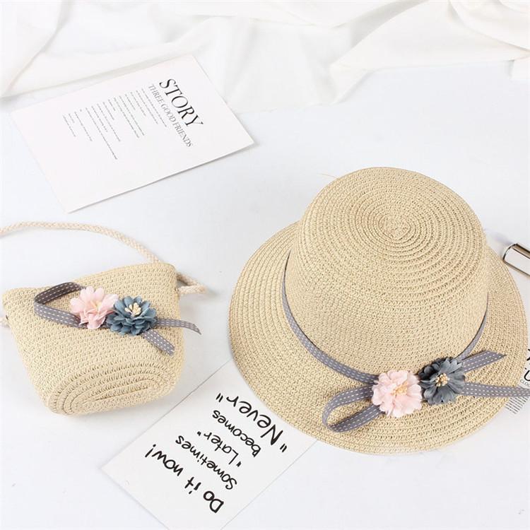 Kids Summer Flower Sun Hat Wide Brim Girl Straw Hat Floral Beach Cap Panama Hat