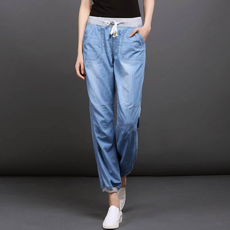 2019 lente en zomer nieuwe dunne jeans voor vrouwen meisjes vrouwelijke mode bloeiers harembroek losse negen broek-in Spijkerbroek van Dames Kleding op  Groep 1