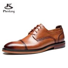 Dress Phenkang Genuine-Wingtip Platform Oxford-Shoes Derby Brogues Wedding Business Pointed-Toe