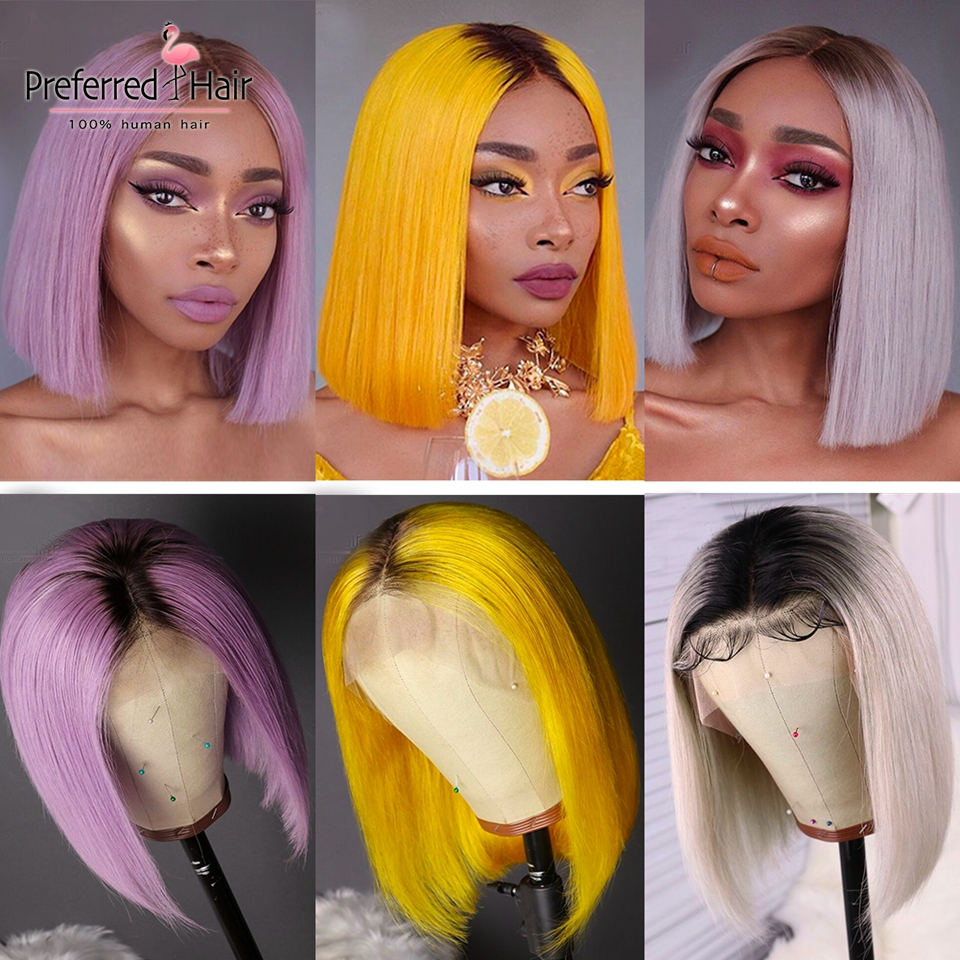 Preferred Preplucked Ombre Human Hair Wig Yellow Purple Light Grey Wig Remy Brazilian Short Bob Lace Front Wigs For Black Women