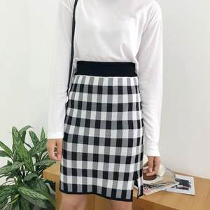 Tight Skirts Plaid Button Elegant Autumn High-Waist Knit Print