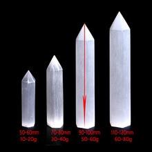 1PC 50 120mm Natural White Gypsum Selenite Single Point Wand Carving Crystal Gemstone Reiki Chakra Healing