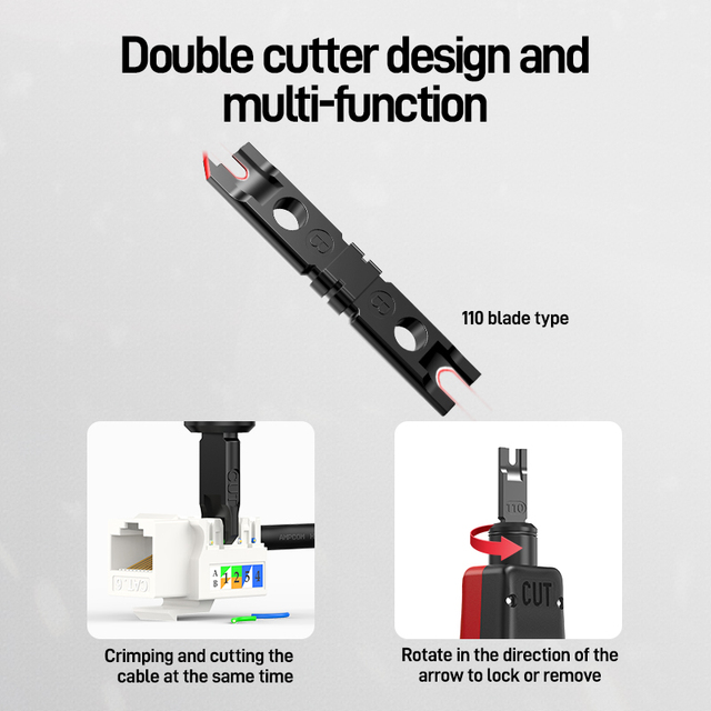 Punch Down Tool, AMPCOM 110 Type Multi-function Network Cable Tool with Two Blades Telephone Impact Terminal Insertion Tools 3