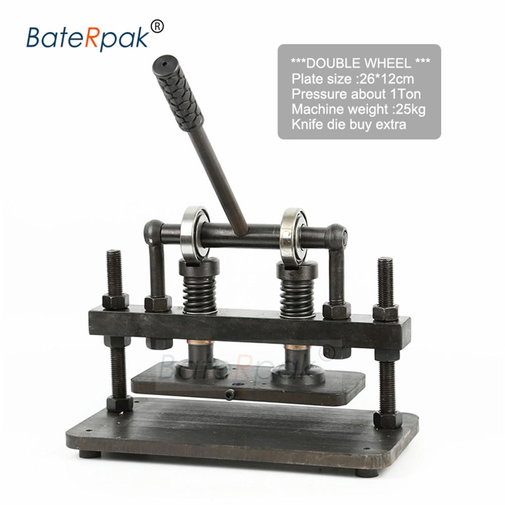 Ev ve Bahçe'ten Kalıp Kesim Makineleri'de 26x12 cm Çift Tekerlekli El deri kesme makinesi  BateRpak fotoğraf kağıdı  PVC/EVA levha kalıp kesici  deri Kalıp kesme makinası title=