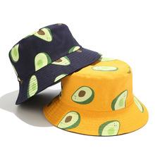 Jesień płótno kapelusz typu Bucket odwracalne awokado drukowane kapelusz rybaka moda nowa torebka typu Bucket czapki dwie strony Bob kapelusz dla miłośników tanie tanio HEALCOLD COTTON Dla dorosłych Unisex Mieszkanie Drukuj YFM650 Wiadro kapelusze Nowość 56-58cm