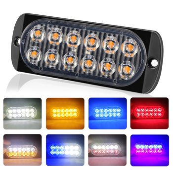 4LED Ultra-thin Strobe Light 12-24V Car Motorcycle Side Light Red blue White Amber Truck Warning strobe Police light image