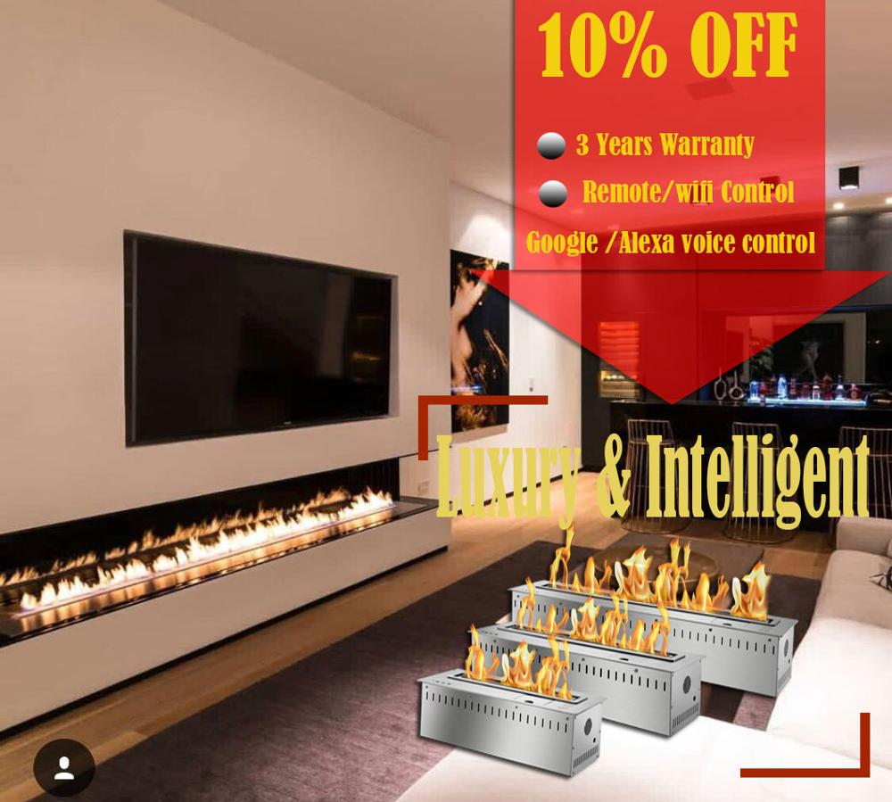 Inno Living Fire 48 Inch Real Fire Automatic Electric Intelligent Smart Remote Control Ethanol Fireplace Insert