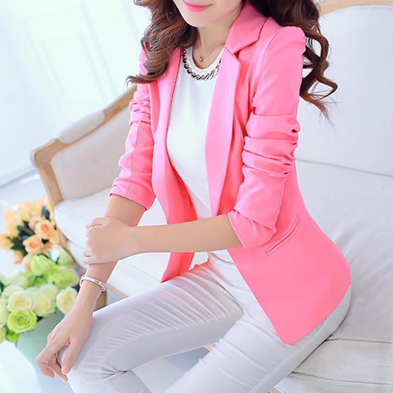 Women Autumn Coat Long Sleeve Turn-down Collar Blazer Outwear Jacket Elegant Slim Single Button Blazer Ladies 7479