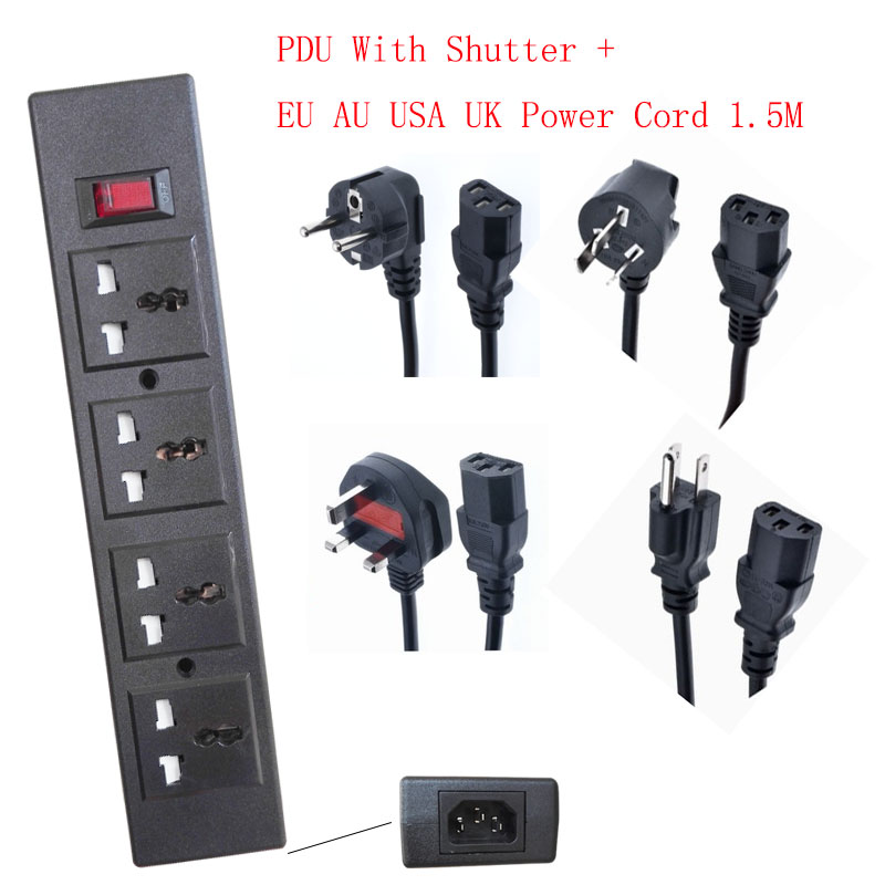 PDU 4 Way Outlet Universal Electric Socket Overload Protector Surge Protector Power Strip Network Filter 1.5m Extension Cord