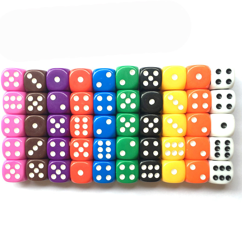 10PCS/Lot Dice Set 10 Colors  High Quality Solid Acrylic 6 Sided Dice For Club/Party/Family Games Free Shipping