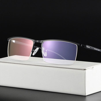 Metal Frame Glasses Browline  Half Rim Spectacles Men Business Style with Spring Hinges New Arrival