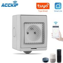 ACCKIP החדש עמיד למים IP55 Wifi חכם כוח שקע טיימר חיצוני תקע Tuya APP קול שלט רחוק צרפת תקע