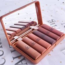 HengFang Pumpkin Color Matte Waterproof Lipstick Set Long-lasting Red Lip Kit Wi