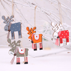 1pcs New Year 2020 Elk Wood Pendant Drop Ornaments Christmas Tree Wood Craft Xmas Tree Decorations for Home