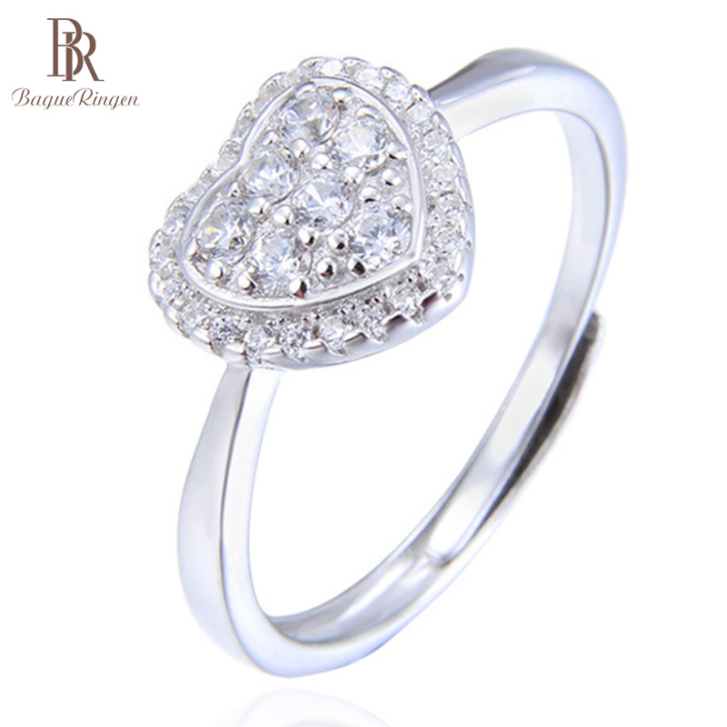 Bague Ringen Heart Shape Top Quality Crystal Rings 925 Sterling Silver Finger Rings For Female  Engagement Jewelry Gift